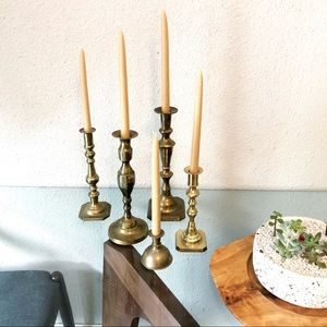 Mixed Lot of 5 Vintage Brass Candle Holders